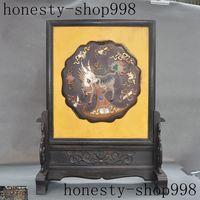 christmas old china Rosewood inlay lapis lazuli shell Shoushan Stone Kirin Unicorn screen halloween
