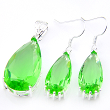 hot deal buy luckyshine classic fire drop green quartz cubic zirconia silver pendants necklaces dangle earrings jewelry sets for holiday gift