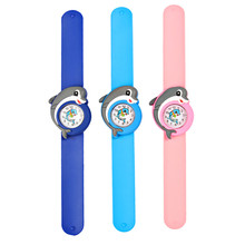 Girl Boy Sports Wristwatch Kids Cartoon Dolphin Silicone Quartz Pat Circle Watch 3D Cute Slap Children Baby Clock Gifts