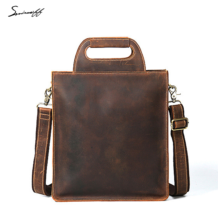 Engrave Name and Logo Vintage Handbags Luxury Genuine Leather ipad Bag Male Business Briefcase Crossbody Bags Men