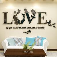 Stylish Removable 3D Leaf LOVE Wall Sticker Art Vinyl Decals Bedroom Decor Drop Ship Oct19