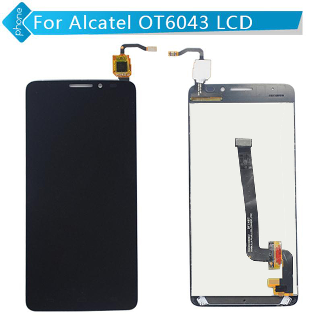 Para alcatel one touch idol x + x plus ot6043 6043 6043d screen display lcd de toque digitador assembléia frete grátis