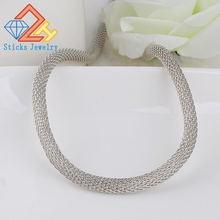 Модное ожерелье цепочка 50 мм x 6 белое круглое металлическое