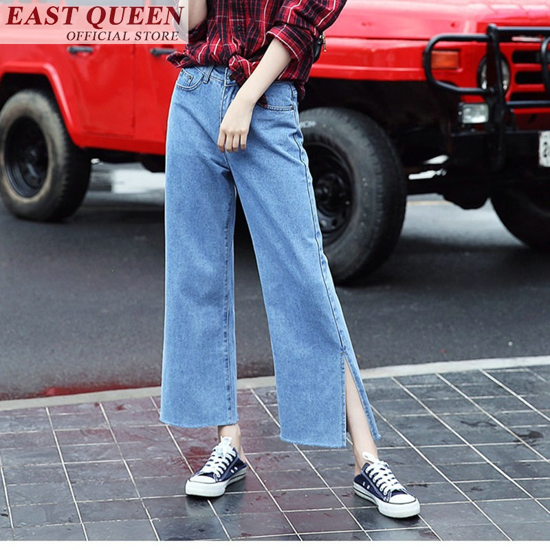 Just 2018 Summer High Waist Jeans Boyfriend Bell Bottom Jeans Loose Split Trousers Femme New Hot Trends Wide Leg Pants Ff297 A Activating Blood Circulation And Strengthening Sinews And Bones Women's Clothing Jeans