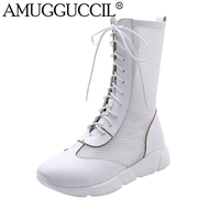 2019 New Plus Big Size 32 43 Black White Lace Up Fashion Sexy Spring Autumn Female Ladies Women Summer Boots X1825