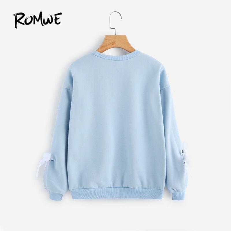 ROMWE Autumn Eyelet Tie Sleeve Sweatshirt Ladies Round Neck Casual Top  Blue Women Drop Shoulder Long Sleeve Sweatshirt