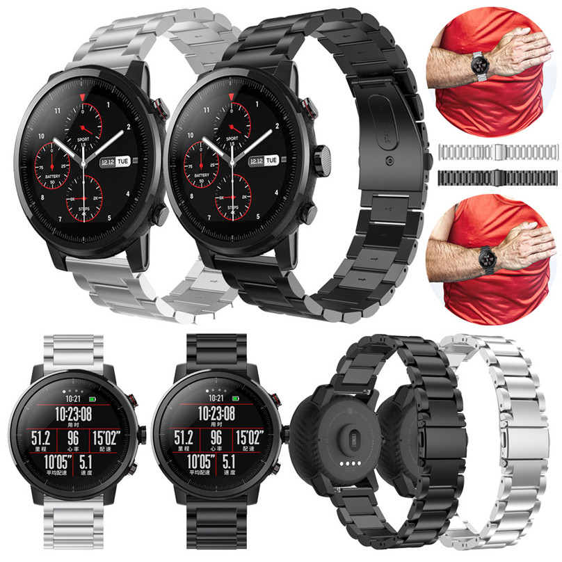 Stainless Steel Watch Band Wrist Straps Metal Clasp Bracelet Watchband Compatible For HUAMI Amazfit Stratos 2 Watch #F30OT30