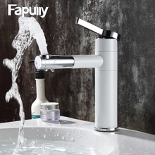 цены 102-11W Countertop Elegan White Painting Brass Bathroom Basin Faucet Vessel Sinks Mixer Vanity Tap Swivel Spout Deck Mounted