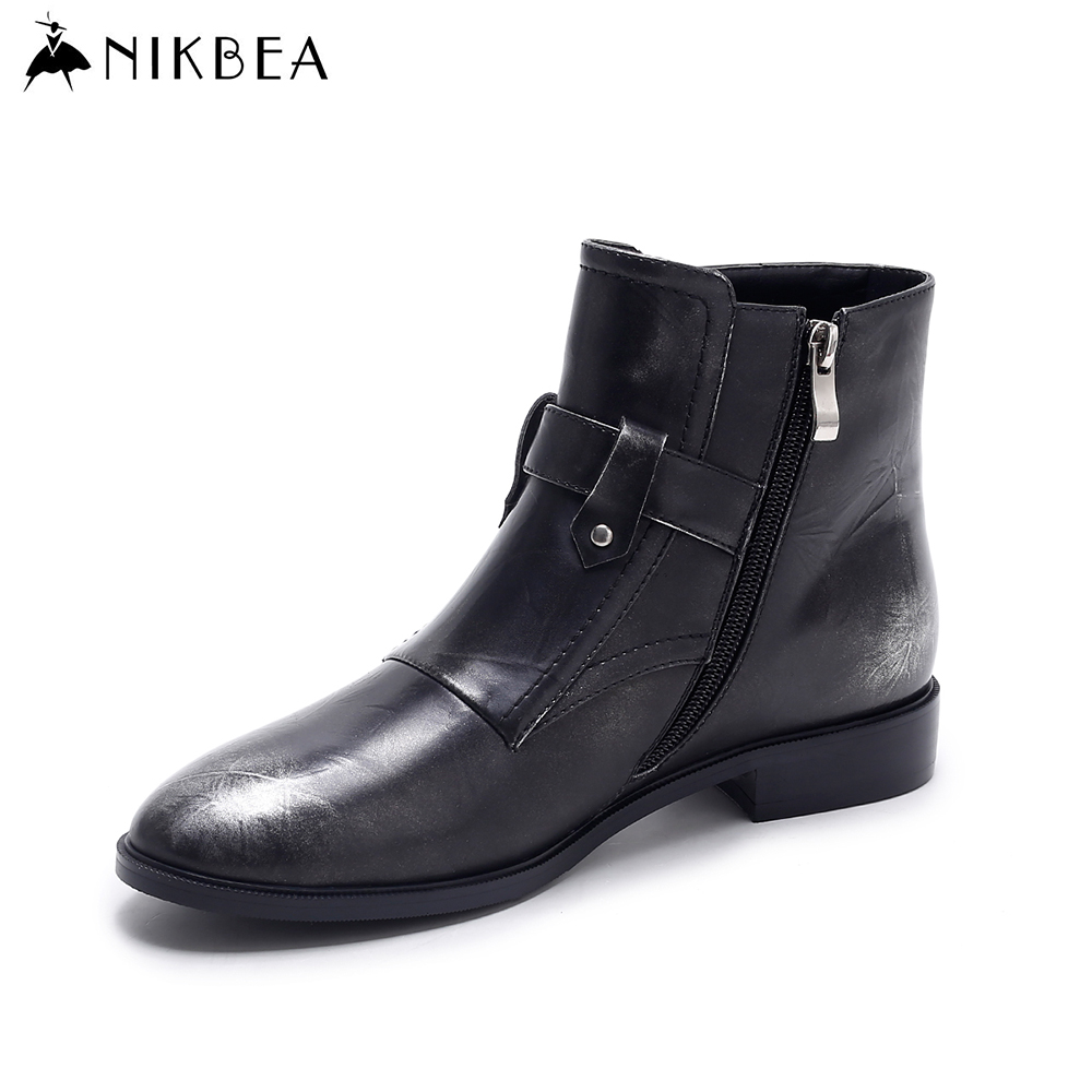 Nikbea Black Women Ankle Boots Pointed Toe Flat Boots 2016 Autumn Winter Shoes Vintage Ladies Pu Leather Boots Botas Femininas nikbea vintage western boots cowboy ankle boots for women pointed toe boots winter 2016 autumn shoes pu chunky low heel booties