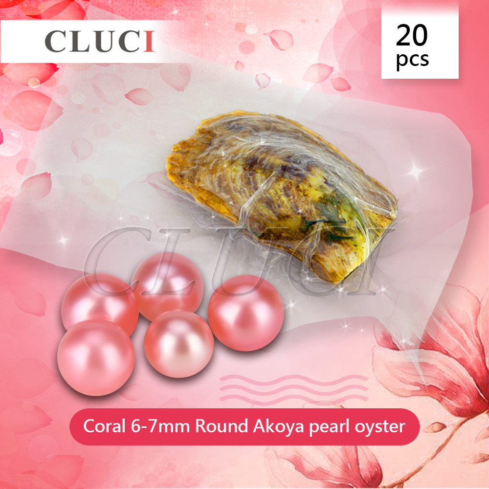CLUCI Coral 6-7mm round akoya colorful Pearls in Oysters with vacuum-packing 20pcs, Colorful Round Beads for Jewelry Making цена