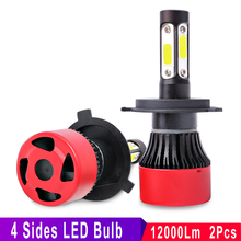 COOLFOX 9012 9005 9006 HB4 H4 H7 H11 LED Headlight Lamp for Auto Car Light Bulb 4 Side Lumens COB Chip 12000LM 6000K 12V