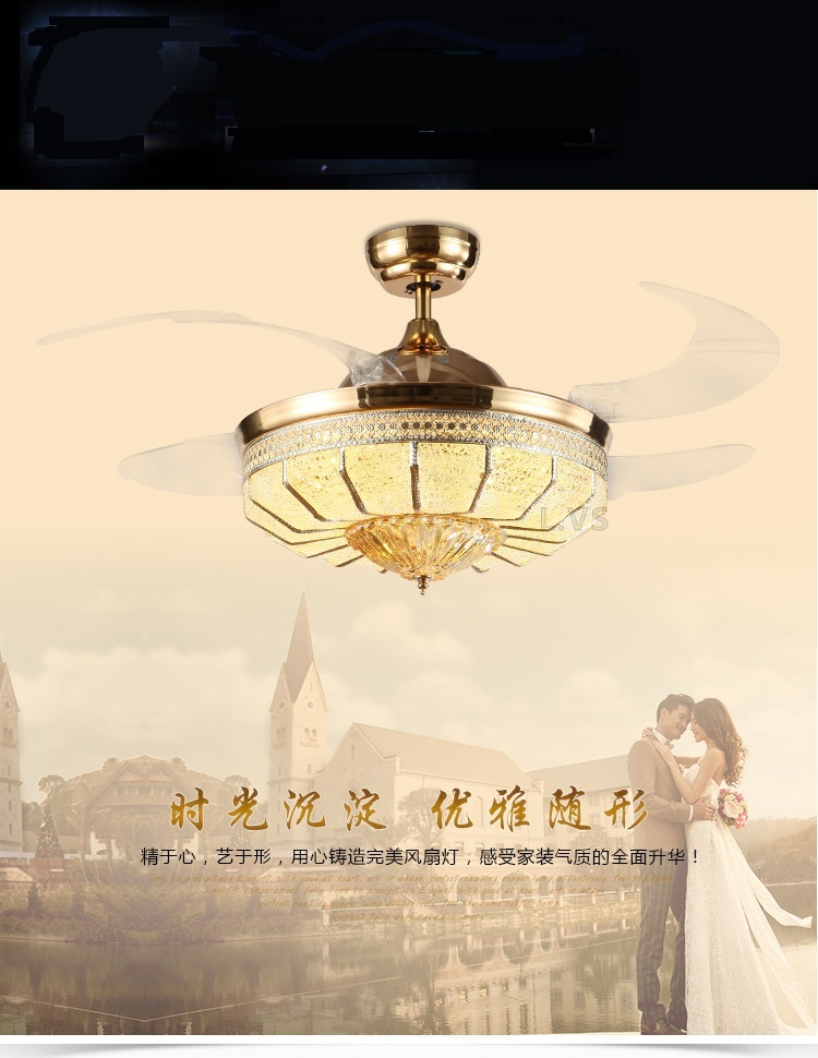 Led crystal gold stealth take off fan light ceiling fans - Bedroom ceiling fans with remote control ...