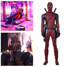 Deadpool Cosplay Costume Halloween costumes for Adult Superhero 2 Wade jumpsuit boots PU suit