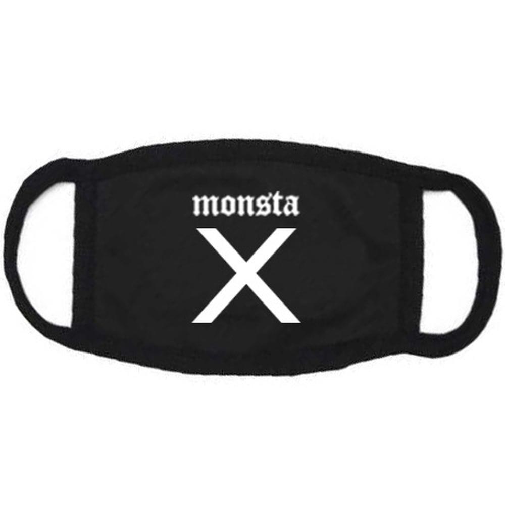 Monsta X KPOP Cotton Masks 2018 New Men And Women Korean Version Black Letter Printing Mask Dust-proof Earmuffs