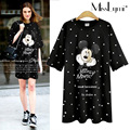 XXXL 4XL 5XL Plus Size Women Long Tshirt 2017 Summer Cute Cartoon Mickey Print Polka Dot Short Sleeve Loose Casual Cotton Tops