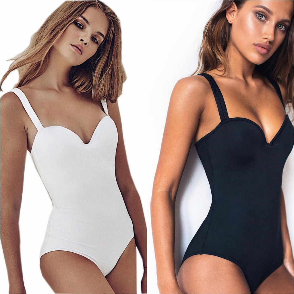 c8ac70ea7f Women Tanks Top Fashion Sexy Pure Color Push-Up Padded Bra Beach Bikini One  Piece