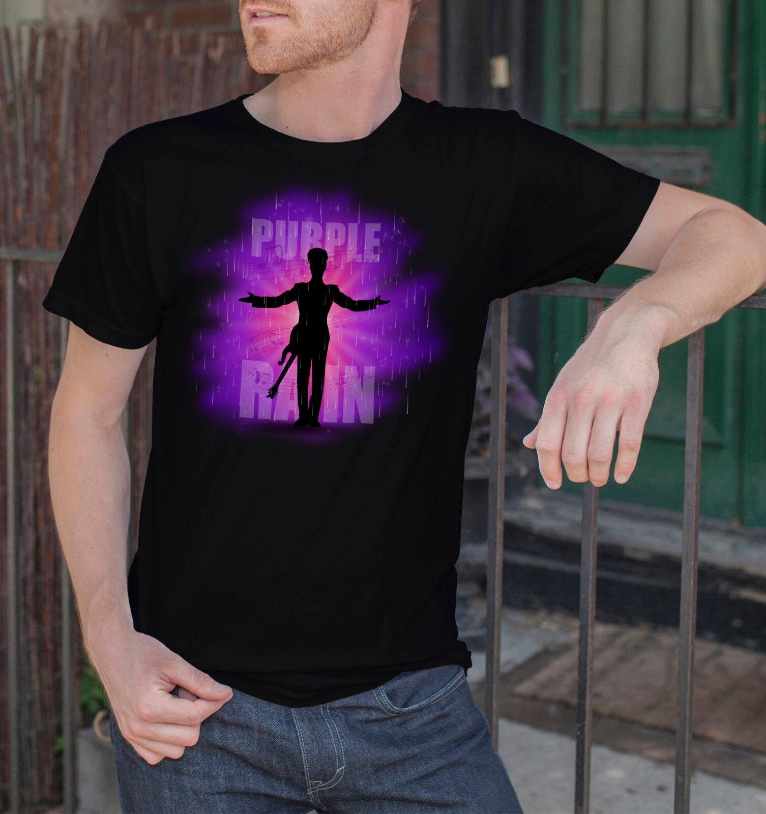 Prince R.I.P Graphic Men Black T-Shirt Purple Rain Rock Legend Tee Size S-3XL Men T Shirt 2018 Fashion Top Tee