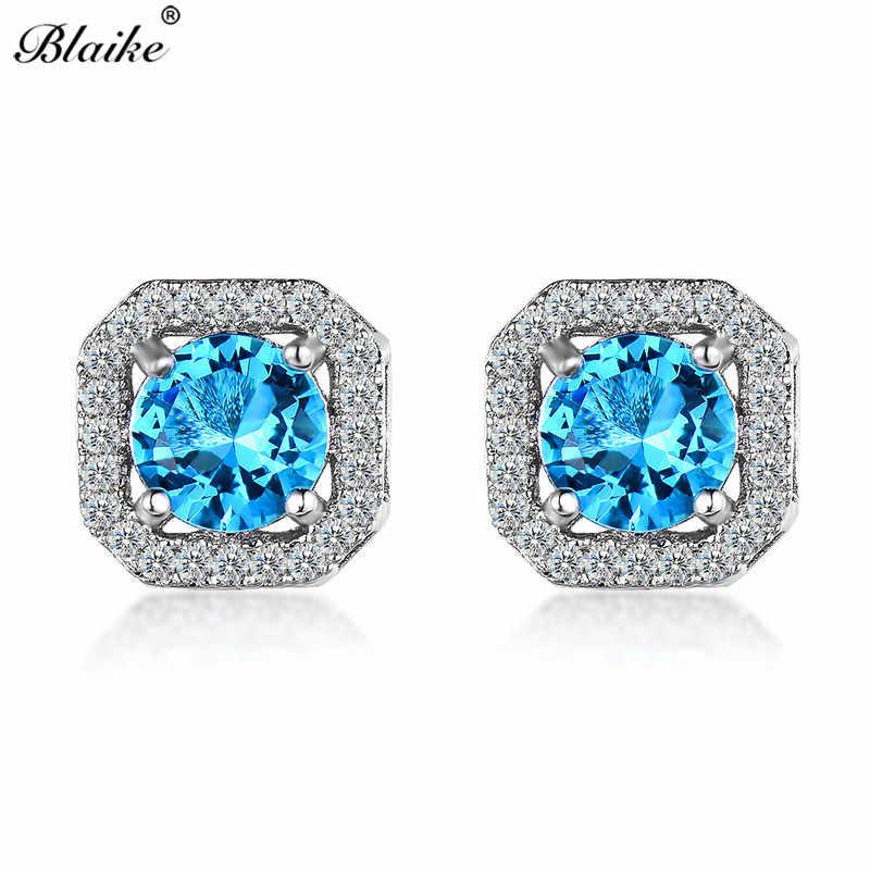 Blaike White/Blue/Red Round Zircon Square Cut Stud Earrings For Women 925 Sterling Silver Filled Multicolor Birthstone Earrings