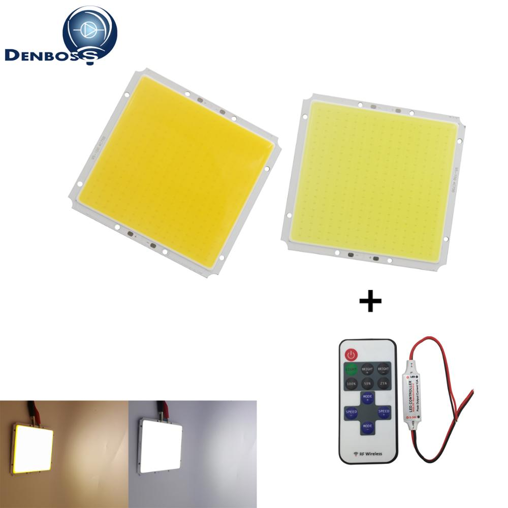 Dimmable 12V DC 100x95mm Square manufacturer LED COB 50W with remote coltroller LED FLIP Chip For Car Light Source cob led strip