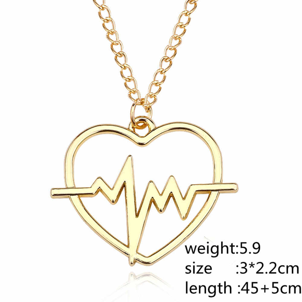 Trendy DIY ECG Love Heart Charm Necklaces Pendant Lettering Electrocardiogram Heartbeat Women Gold Silver Gift Fashion Jewelry
