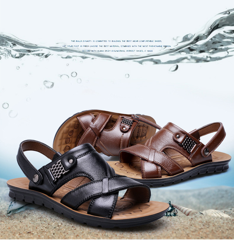 5bc3d1206954 Genuine Leather Men s Sandals Summer Beach Shoes Men Large Size Leisure  Sandals Slippers Brown Holiday Essential Big Size 38-47