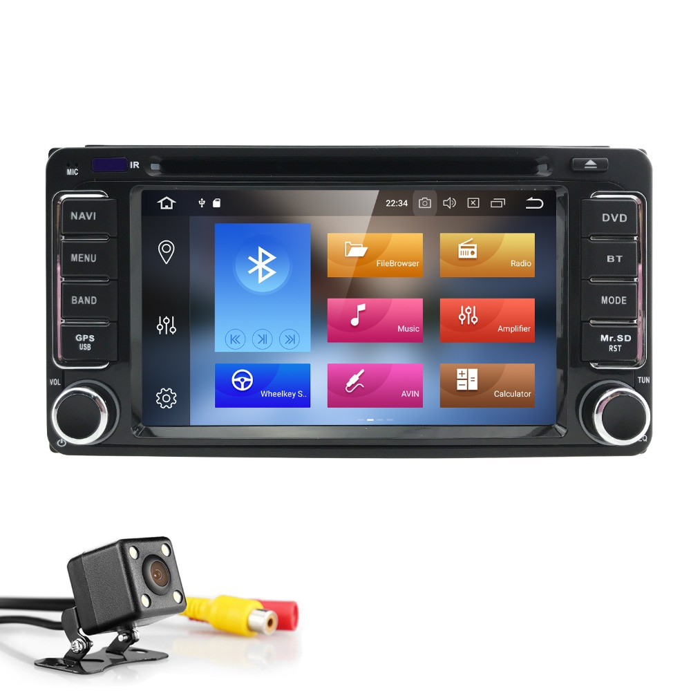 Qcta Core 2 din Car Radio GPS Android 8.0 Car DVD Player For Toyota Rav4 Land cruise 100 Corolla 150 Pradofortuner hilux yarisTV
