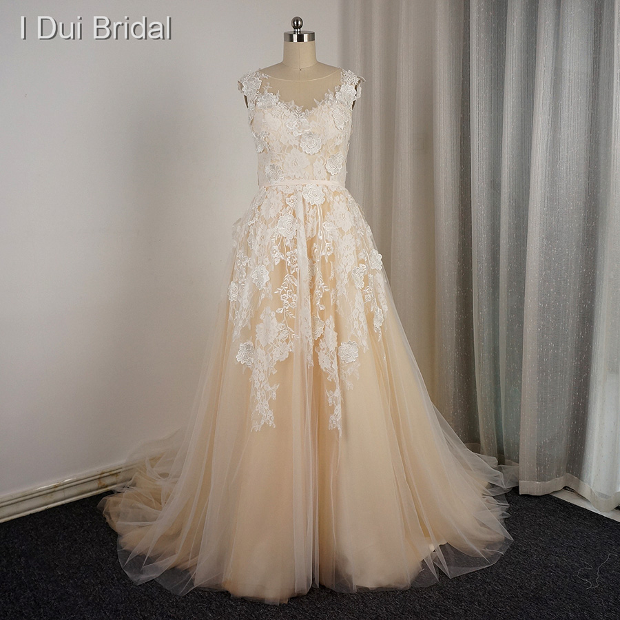 Champagne Lace Wedding Gown: Illusion Tulle Neckline Floral Lace Wedding Dresses