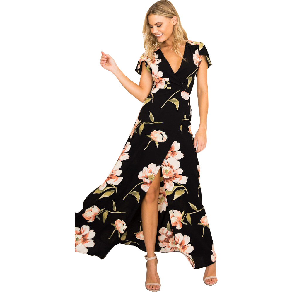 Dresses Dresses For Women 2019 Aliexpress Models Womens New V-neck Print Sexy Open-end Beach Dress Clothing Vestidos Hjy0326