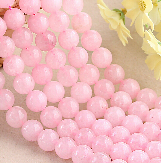 10pcs/lot High Quality Natural Stone Pink Quartz Spacer Bead Round Agate Beads For DIY Jewelry 4/6/8/10/12mm