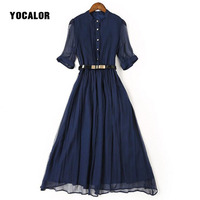100 Real Silk Natural Summer Dress Women Blue Red Dress High Quality A Line Half Sleeve