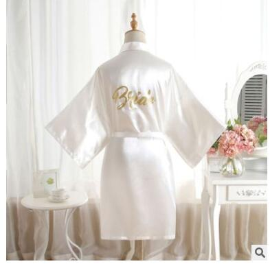 Silk Satin Hochzeit Braut Brautjungfer Robe Solide Bademantel Kurze Kimono Robe Nacht Robe Bad Robe Mode Dressing Kleid Für Wome
