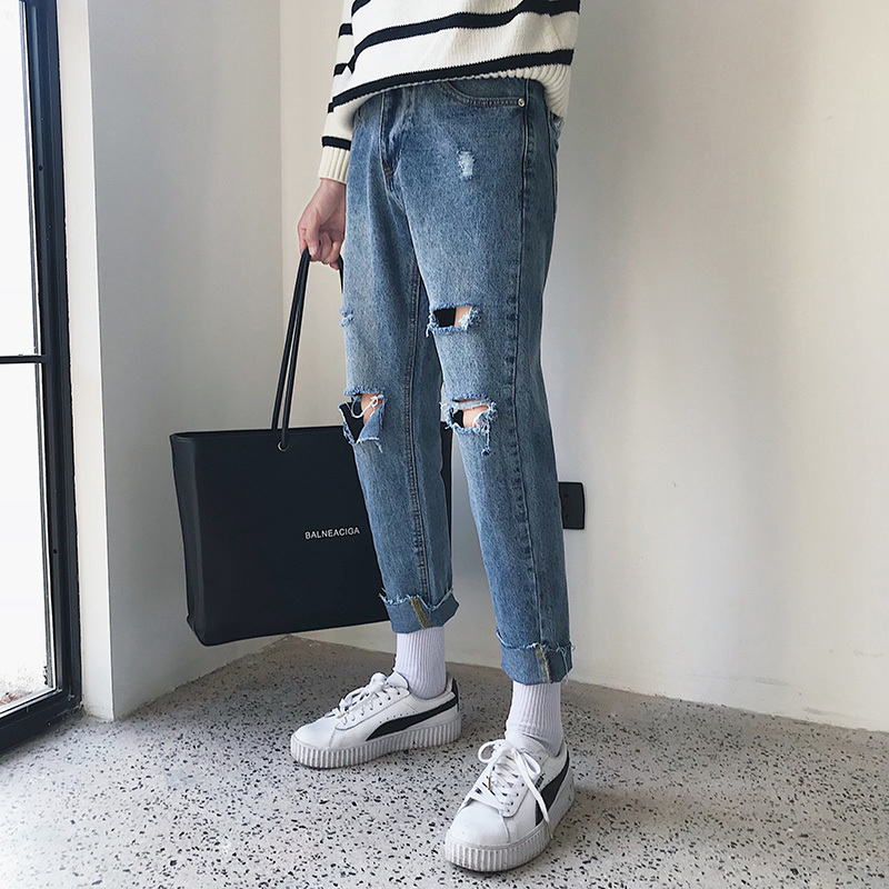 Nine Part Knee Holes Pants Jeans The new listing Wind In Leisure Time Japanese Male blue Fashion Favourite Free shipping