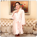 Женщины Твердые Шелковый Атлас Одеяние Колен Халат Сексуальное Женское Белье Пижамы Плюс Размер Платье Для Невесты Свободно Гостиная Ночной Рубашке