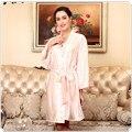 Women Solid Silk Satin Robe Knee Length Bathrobe Sexy Lingerie Sleepwear Plus Size Gown For Bridesmaid Loose Lounge Nightdress