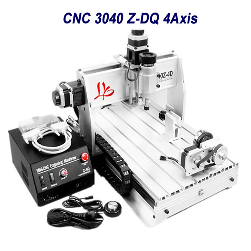 4 axis cnc 3040 Z-DQ engraving machine with more presise ball screw tool auto-checking instrument 4th rotation axis for 3d cnc