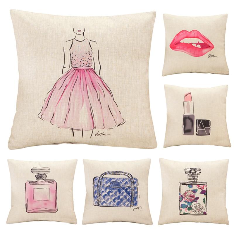 Moda lábios vermelhos almofada sem frasco de perfume interior batom sofá home decorativo travesseiro assento de carro capa de cojines