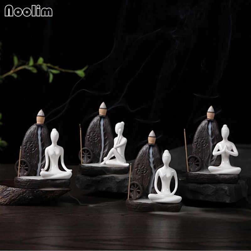 20 stücke Natürliche sandelholz + 1 stücke Brenner Die Wenig Mönch Kleine Buddha Räuchergefäß Keramik Rückfluss Weihrauch Brenner Halter Hause decor