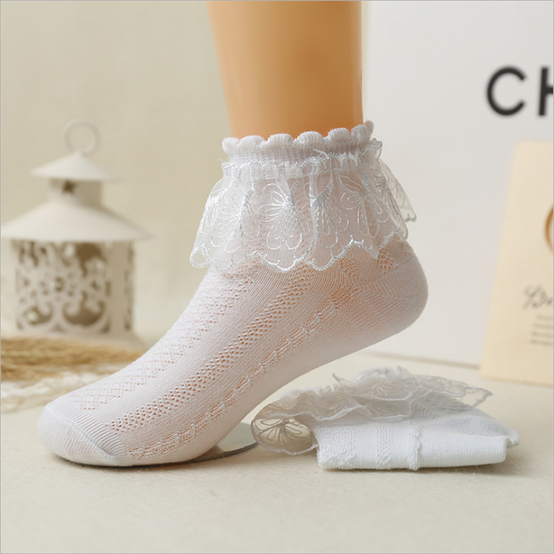 Thin Summer Baby Girls Kids Toddler White Pink Cotton Lace Ruffle Princess Mesh Socks Childrens