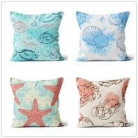 Mediterranean style Colored fish shells series digital printing pillow car sofa cushion heat transfer marine animal