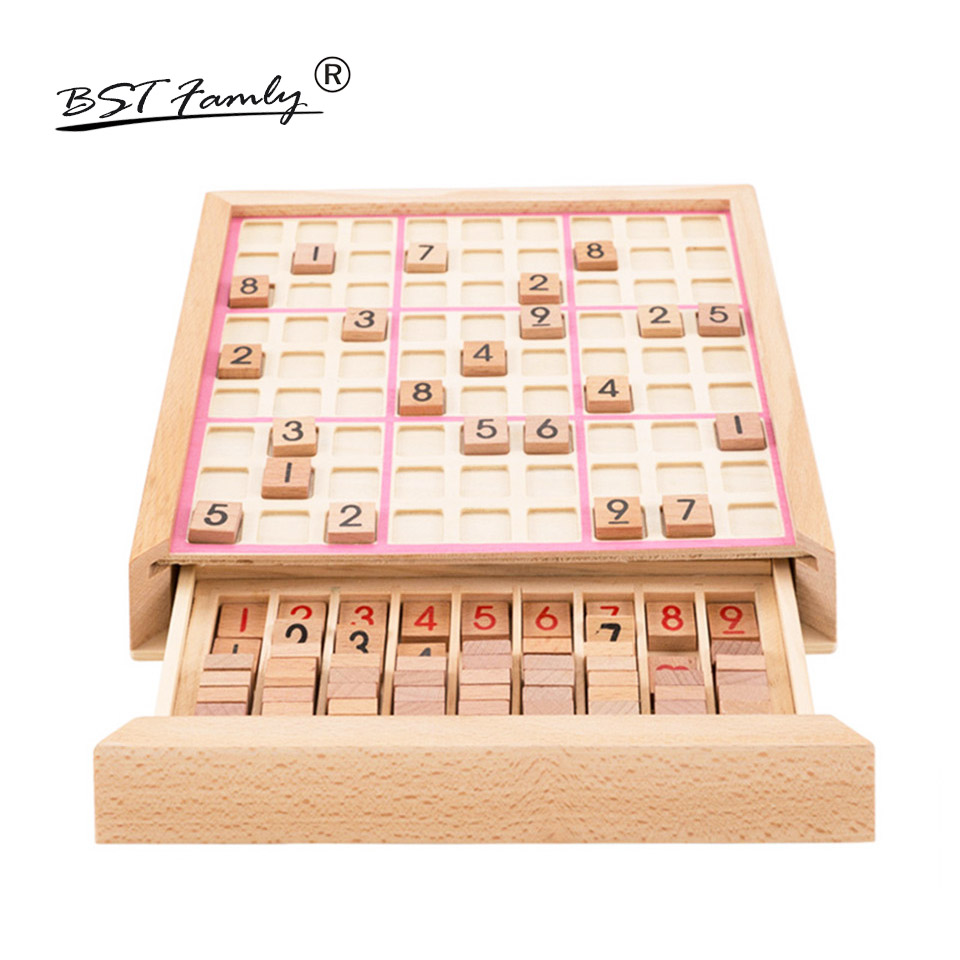 BSTFAMLY Children Sudoku Chess Beech Wooden with Drawer 23.5*23.5*5cm 81Pcs/Set Table Puzzle Game Kids Toy Interesting Gift S03