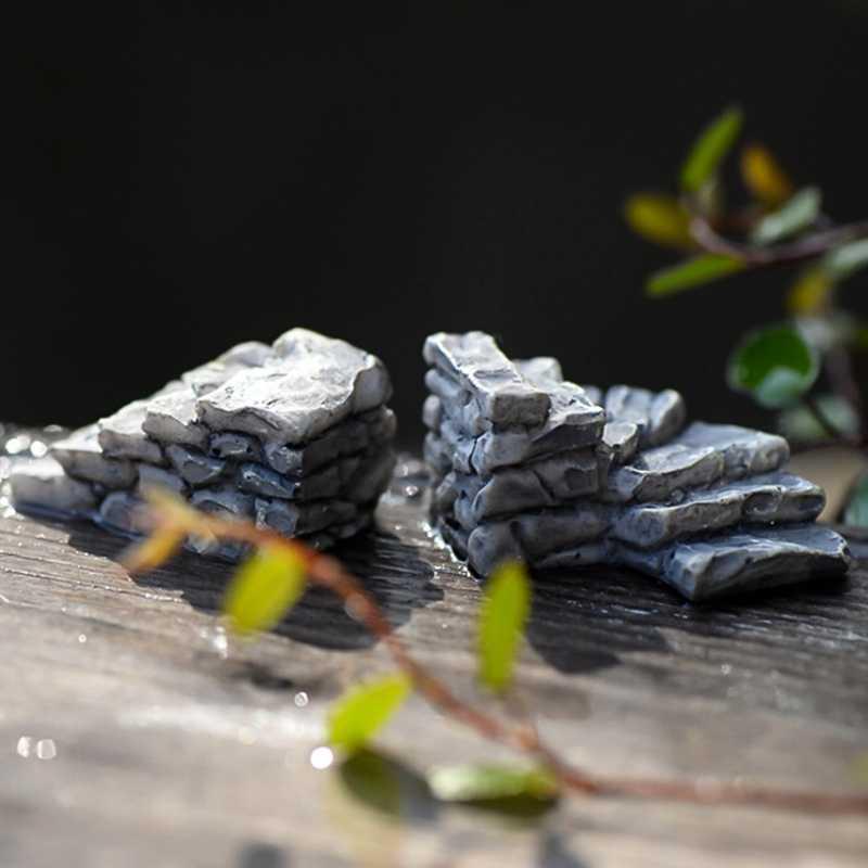 מדרגות אבן אמנות קריקטורה מיניאטורות קישוט מוס מוס קישוט נוף מיניאטורי גשר גינה מדרגות קישוט שרף
