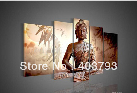 5Panel Wall Art Religion Buddha under moon light Oil Painting On Canvas Modern Decorative Modern oil Paintings Free shipping
