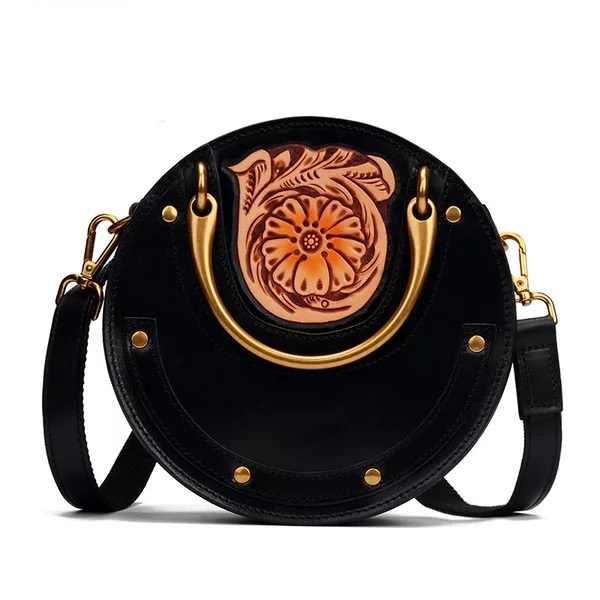 95b948f8d10f Винтажная ручная гравировка цветок дизайнерская металлическая круглая ручка  Женская круговая сумка ручной работы натуральная кожа женская