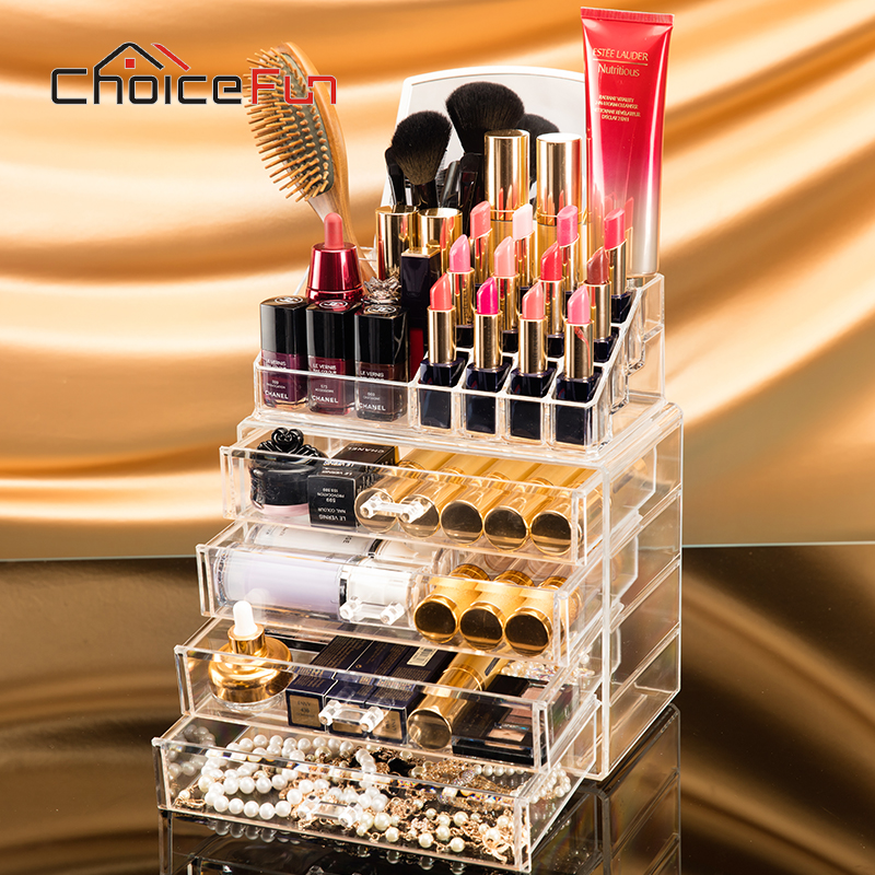 CHOICE FUN 4 Drawers Acrylic Makeup Organizer Lipstick Nail Polish Clear Plastic Cosmetic Storage Box With