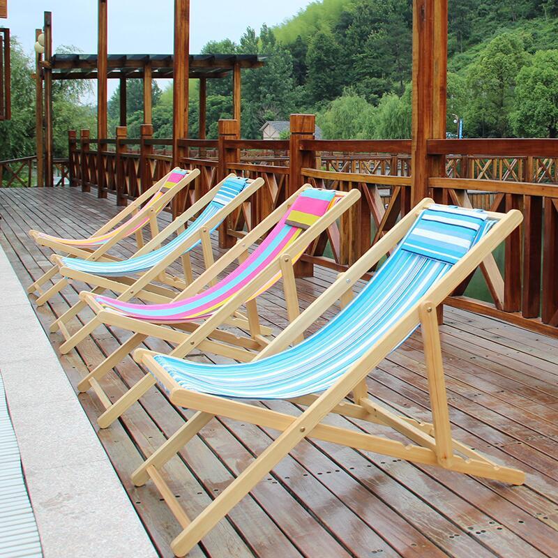 Simple folding portable leisure beach chair wood canvas