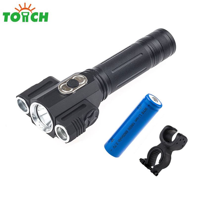 Super Power Cree xml T6*3 Bulb Led Bicycle Flashlight Mini Portable Handle Torch Military Lantern for Outdoor Camping Equipment 1200lm uniquefire cree xml led flashlight high power led torch mini pocket portable lamp for camping power by 16340 battery