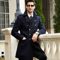 New Mens Long Wool Pea Coat Winter Designer Fashion Plus Size Business Casual Wool Coat Men Outwear Casaco Masculino BF1809