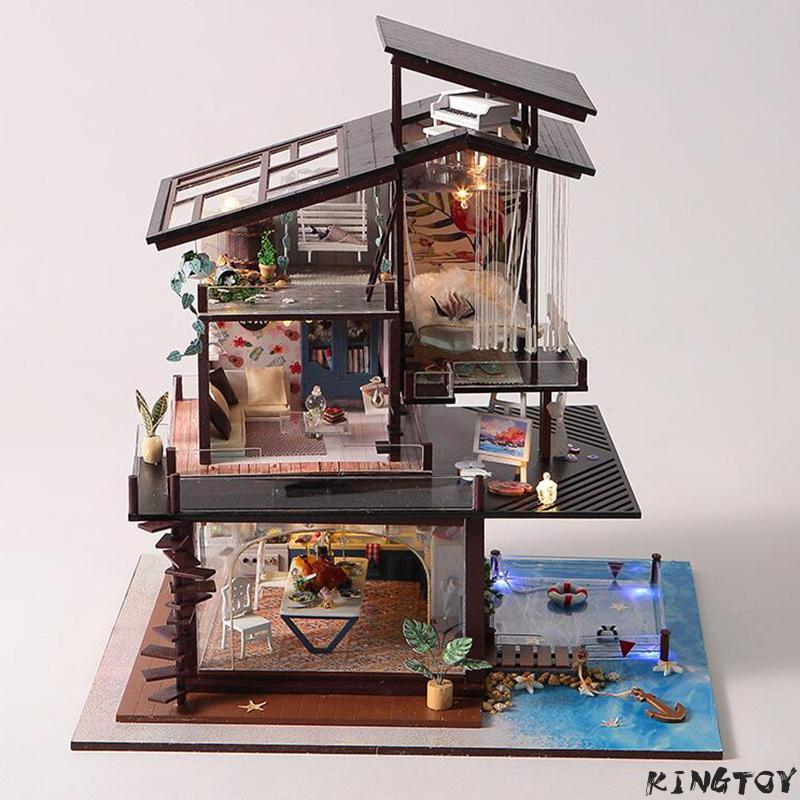 Diy Dollhouse For Boy & Girl Diy Wooden Doll House W/ Led Light Diy Furniture Kits Diy Gift Crafts 3d Puzzle Toys For Christmas diy dollhouse