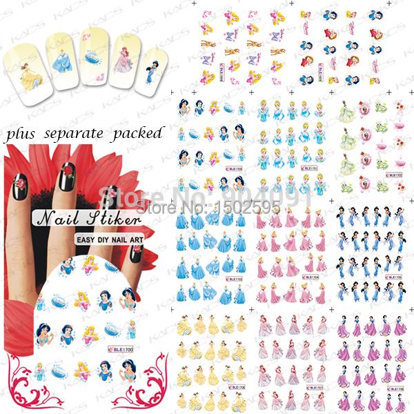 HOT 90 Hoja/LOT Hermosa Princesa de Dibujos Animados accesorios de Diseño de uñas Nail Art sticker/nail agua Nail art + que se Entrega