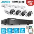 ANNKE 1080P 8CH видео система безопасности H.264 + 1080N DVR с 4 шт. 2MP HD Smart IR Bullet Водонепроницаемая камера видеонаблюдения CCTV комплект